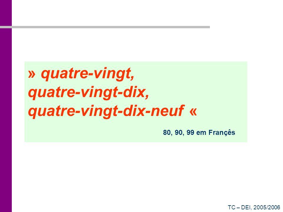 » quatre-vingt, quatre-vingt-dix, quatre-vingt-dix-neuf « 80, 90, 99 em Françês