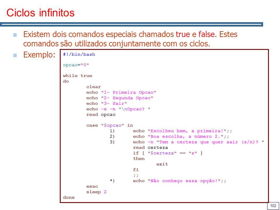 Ciclos infinitos Existem dois comandos especiais chamados true e false. Estes comandos são utilizados conjuntamente com os ciclos.