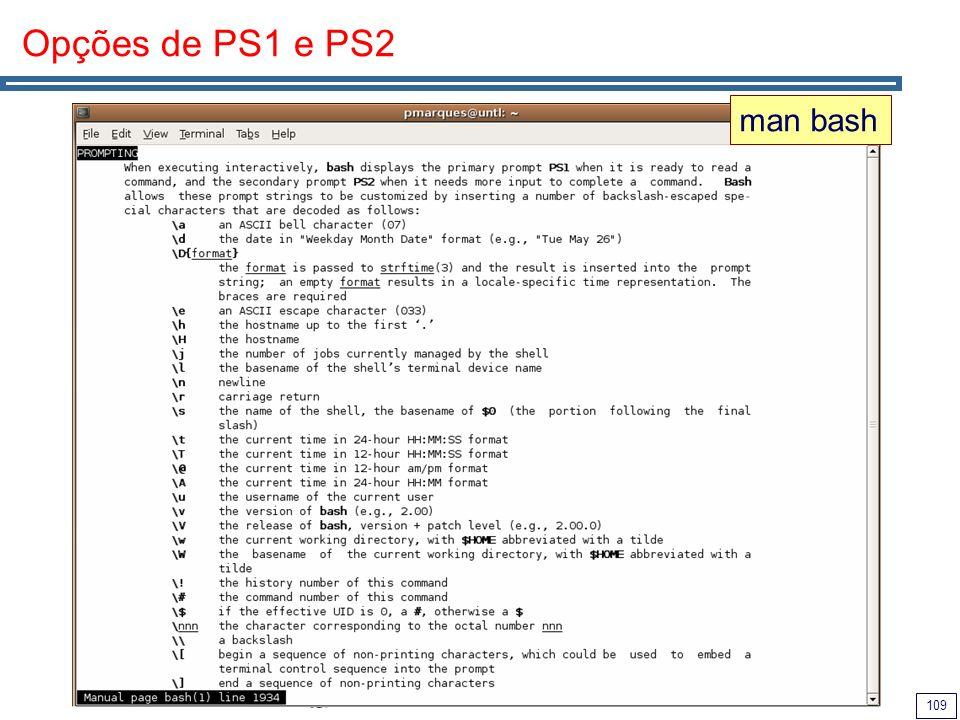 Opções de PS1 e PS2 man bash