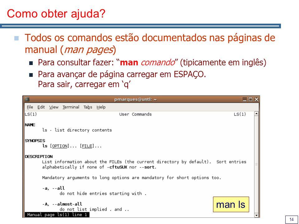 Como obter ajuda Todos os comandos estão documentados nas páginas de manual (man pages) Para consultar fazer: man comando (tipicamente em inglês)