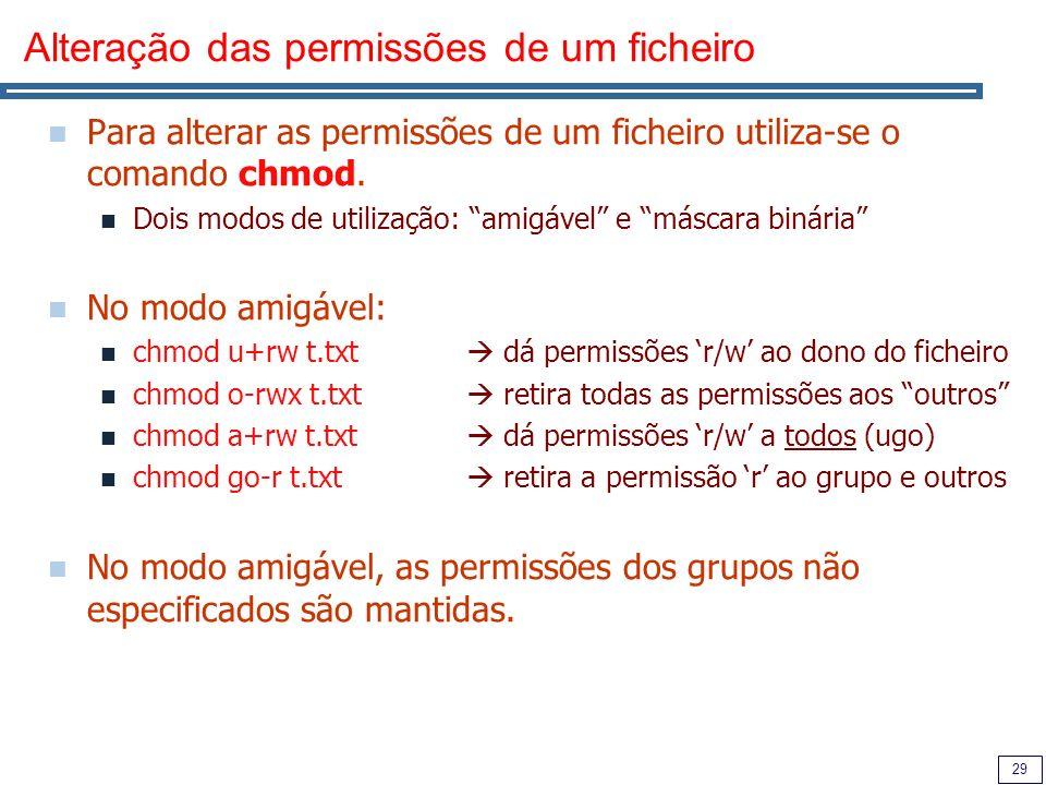 Alteração das permissões de um ficheiro
