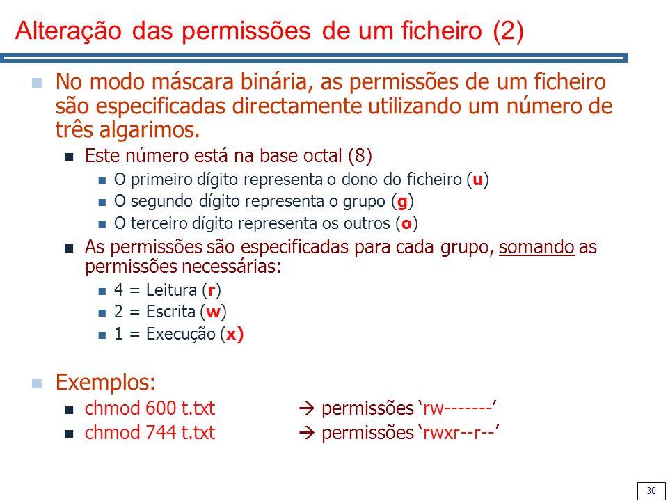 Alteração das permissões de um ficheiro (2)