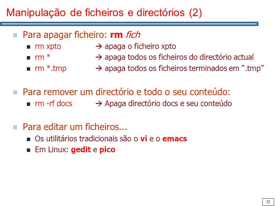Manipulação de ficheiros e directórios (2)