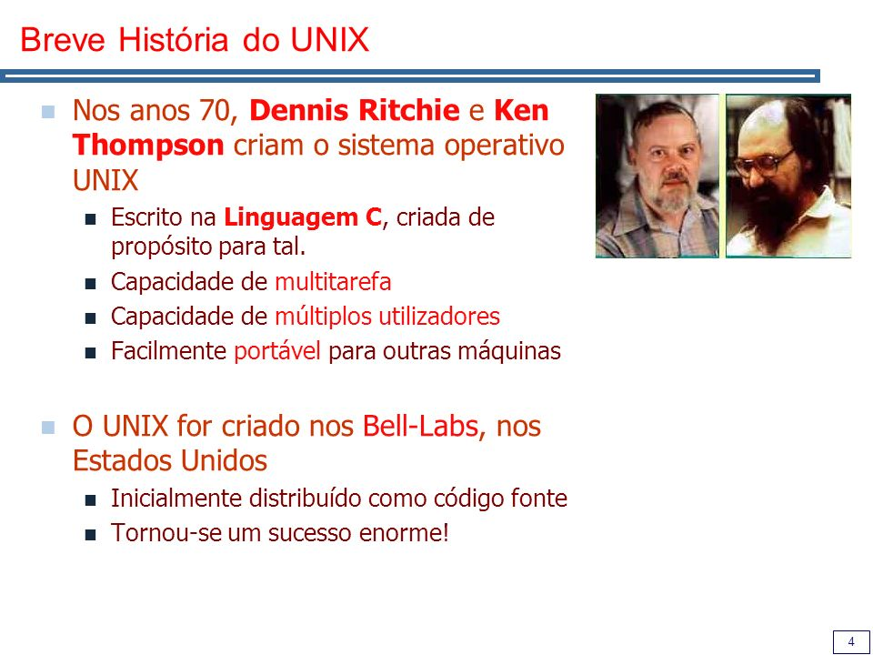Breve História do UNIXNos anos 70, Dennis Ritchie e Ken Thompson criam o sistema operativo UNIX.