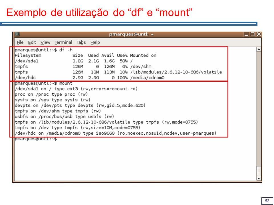 Exemplo de utilização do df e mount