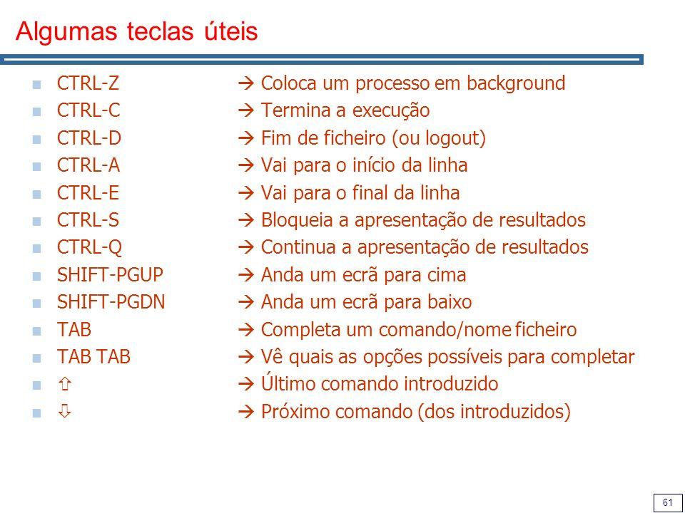 Algumas teclas úteis CTRL-Z  Coloca um processo em background