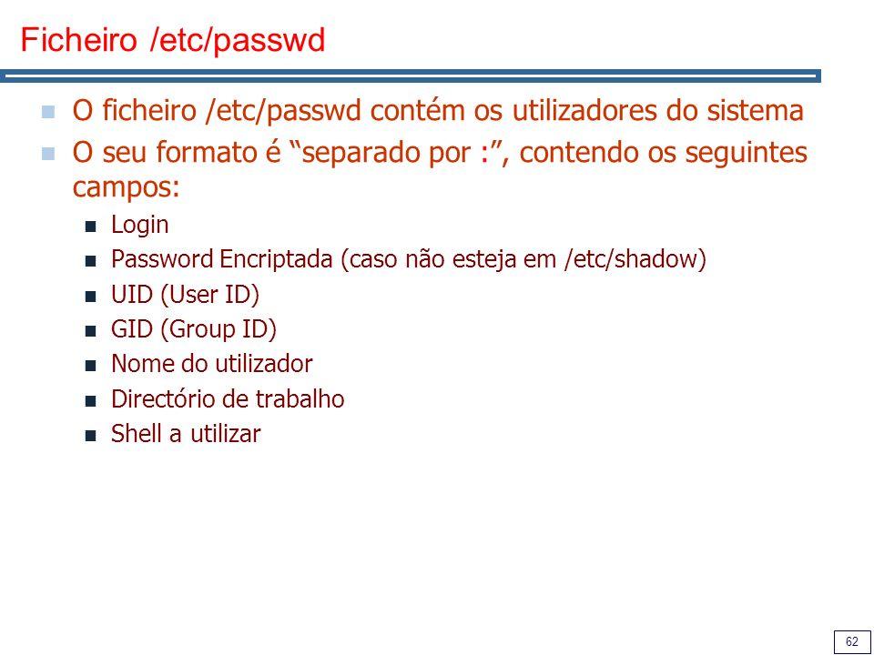 Ficheiro /etc/passwd O ficheiro /etc/passwd contém os utilizadores do sistema. O seu formato é separado por : , contendo os seguintes campos:
