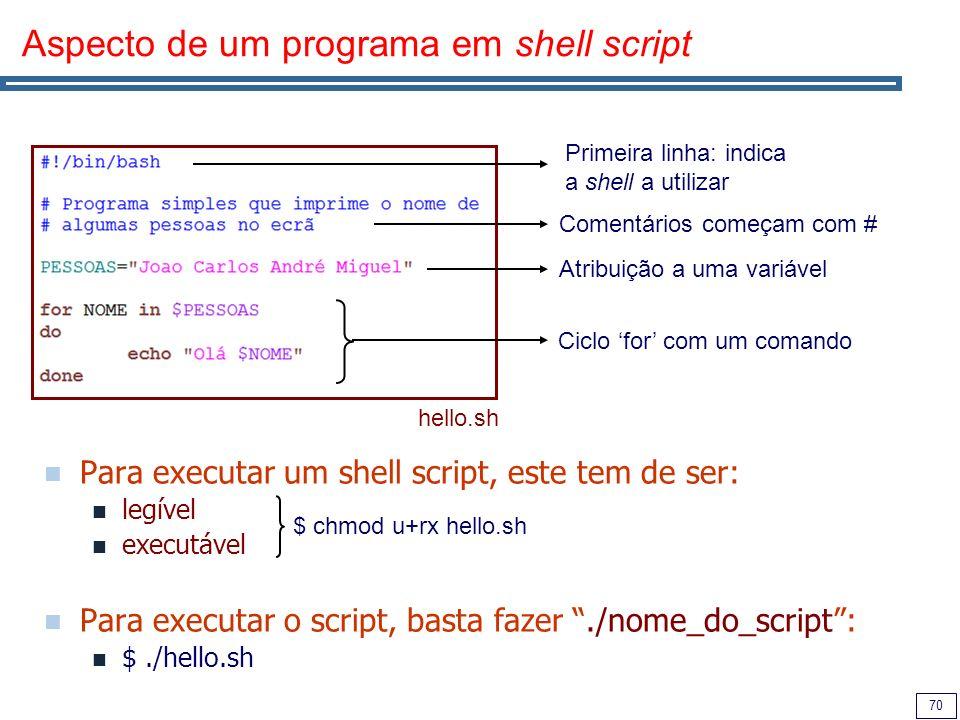 Aspecto de um programa em shell script