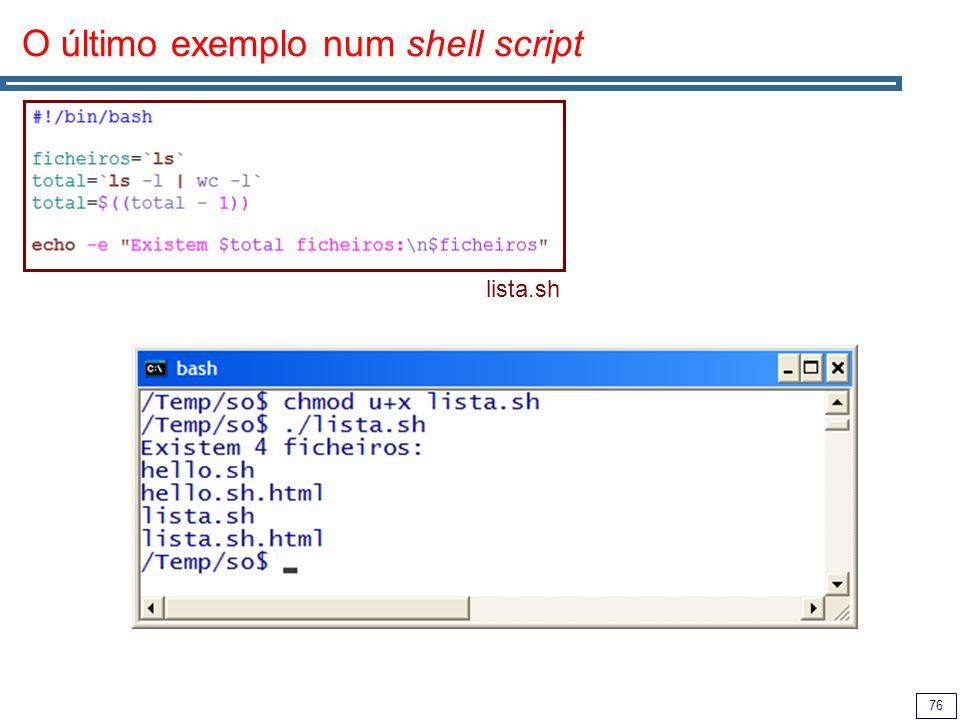 O último exemplo num shell script