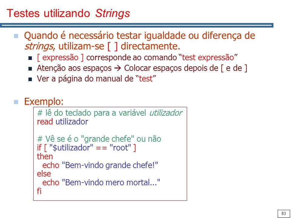 Testes utilizando Strings