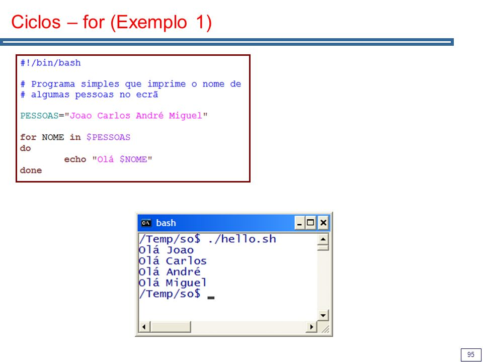 Ciclos – for (Exemplo 1)