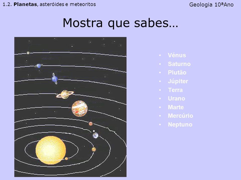 Mostra que sabes… Vénus Saturno Plutão Júpiter Terra Urano Marte