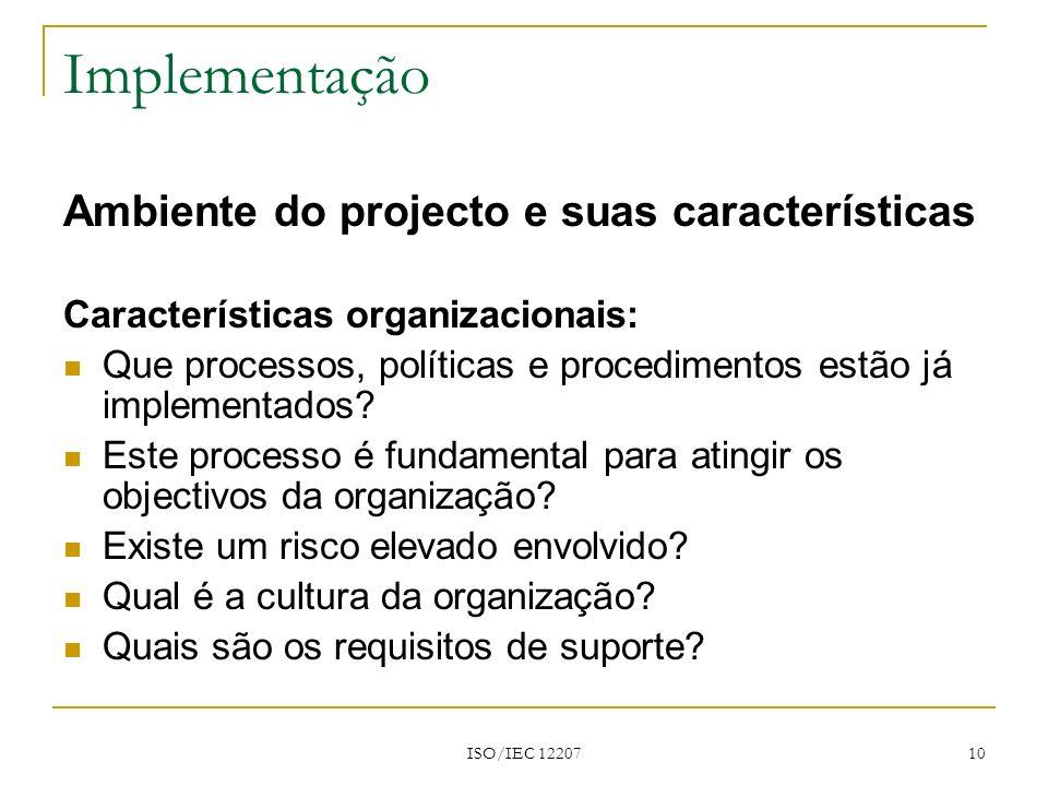 Implementação Ambiente do projecto e suas características
