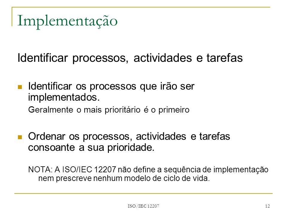 Implementação Identificar processos, actividades e tarefas