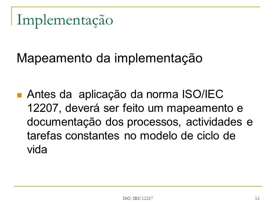 Implementação Mapeamento da implementação
