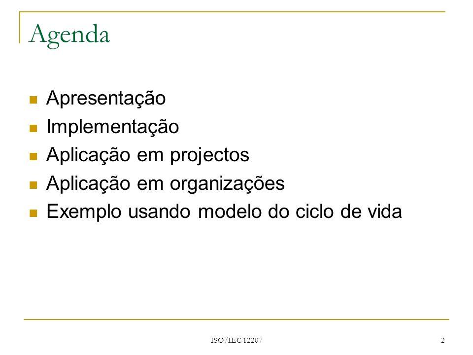 Agenda Apresentação Implementação Aplicação em projectos
