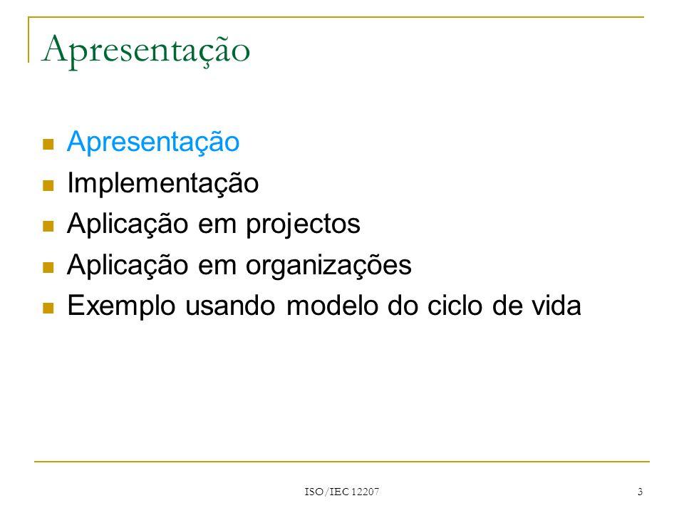 Apresentação Apresentação Implementação Aplicação em projectos
