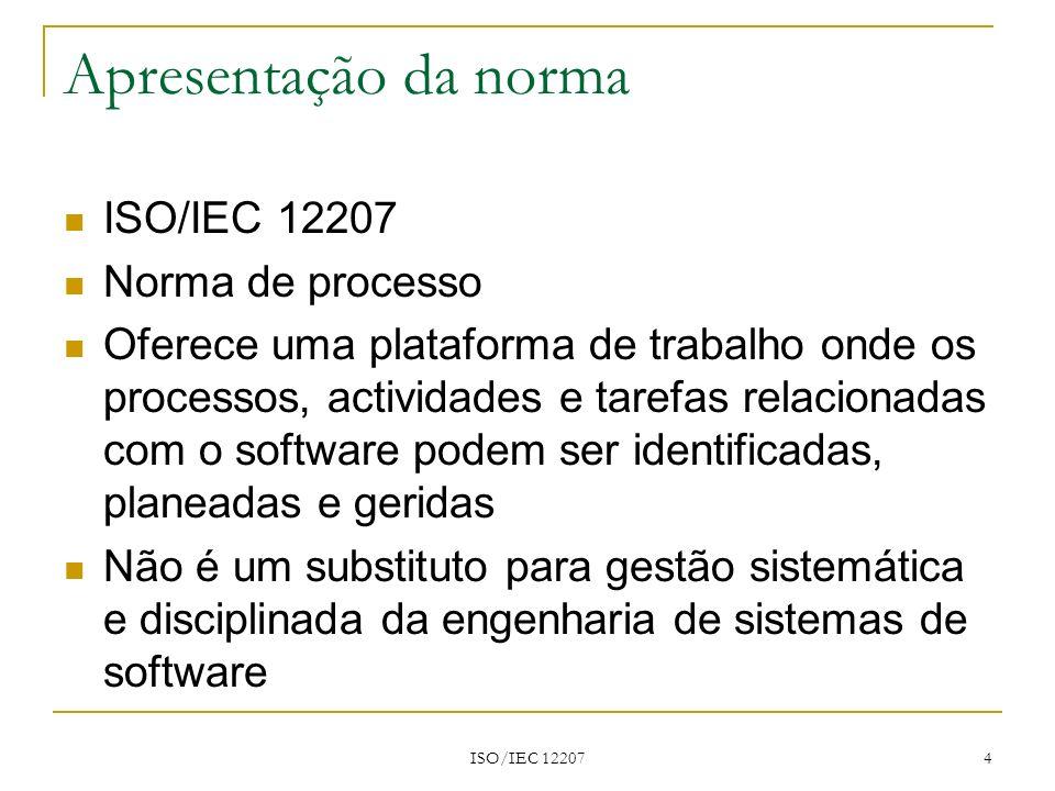 Apresentação da norma ISO/IEC 12207 Norma de processo