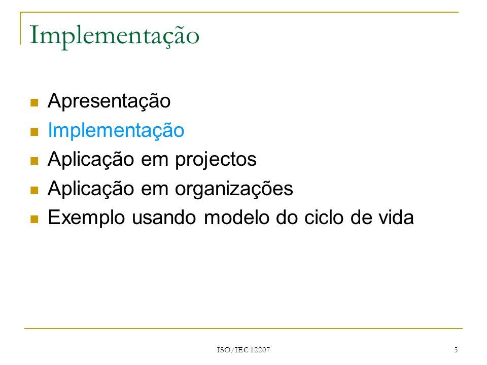 Implementação Apresentação Implementação Aplicação em projectos