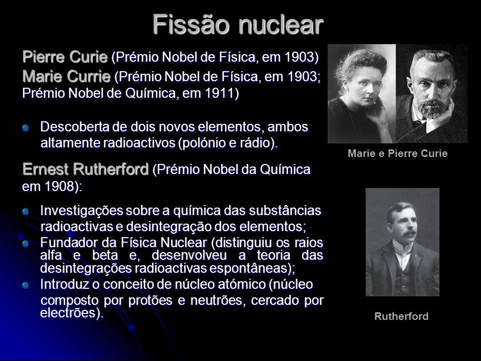 Fissão nuclear Pierre Curie (Prémio Nobel de Física, em 1903)