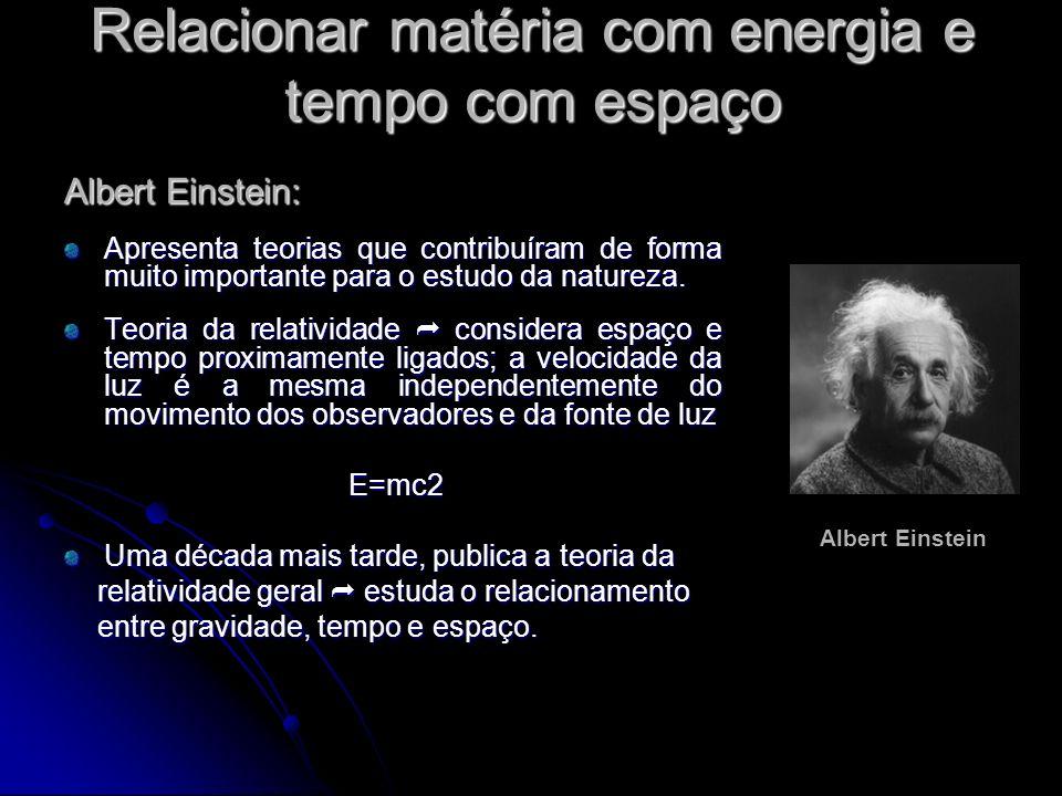 Relacionar matéria com energia e tempo com espaço