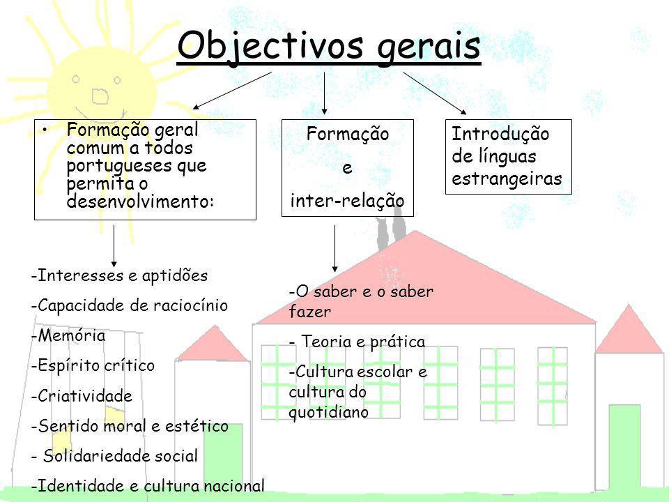 Objectivos gerais Formação geral comum a todos portugueses que permita o desenvolvimento: Formação.
