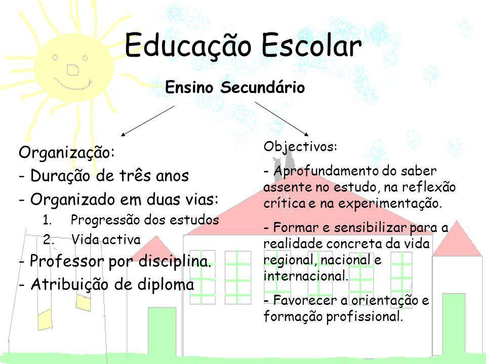 Educação Escolar Ensino Secundário Organização: - Duração de três anos