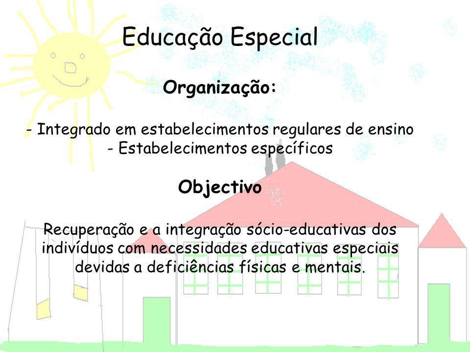 Educação Especial Organização: - Integrado em estabelecimentos regulares de ensino - Estabelecimentos específicos Objectivo Recuperação e a integração sócio-educativas dos indivíduos com necessidades educativas especiais devidas a deficiências físicas e mentais.