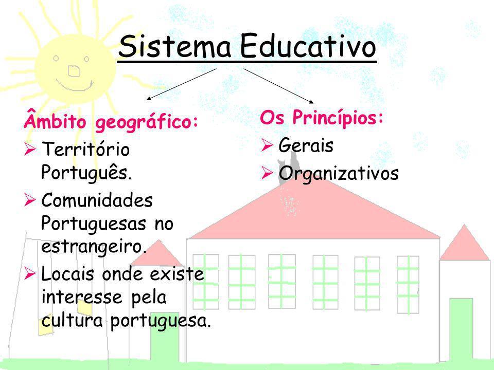 Sistema Educativo Os Princípios: Âmbito geográfico: Gerais