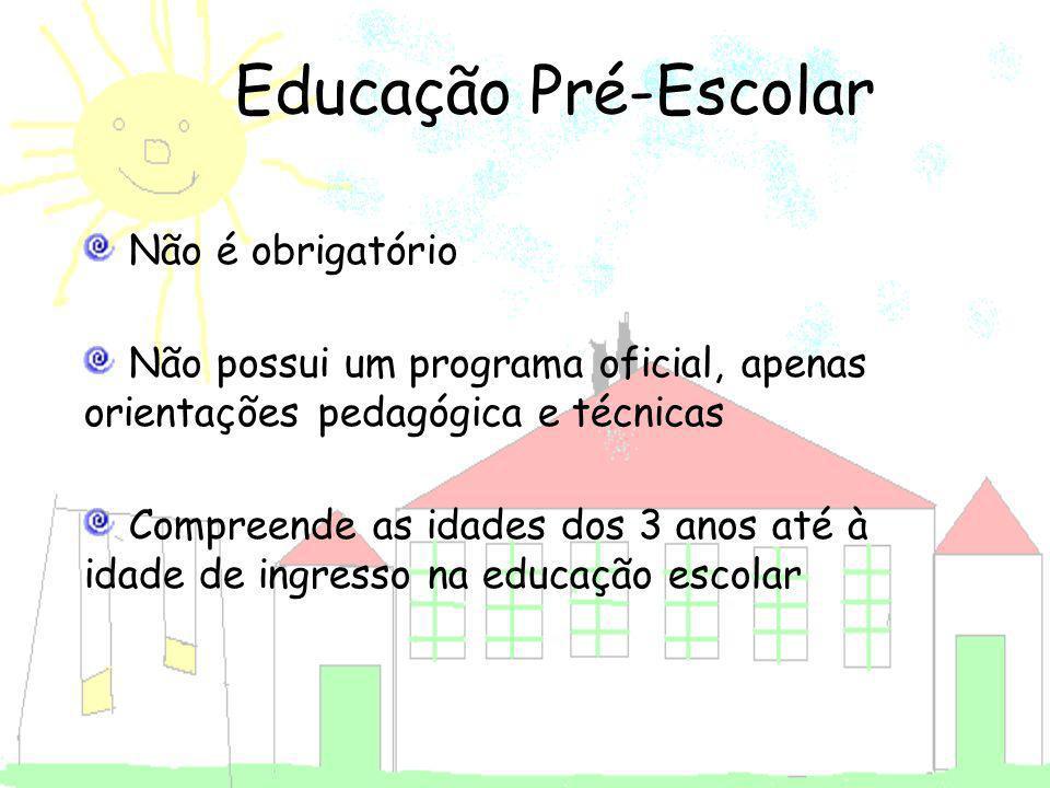 Educação Pré-Escolar Não é obrigatório