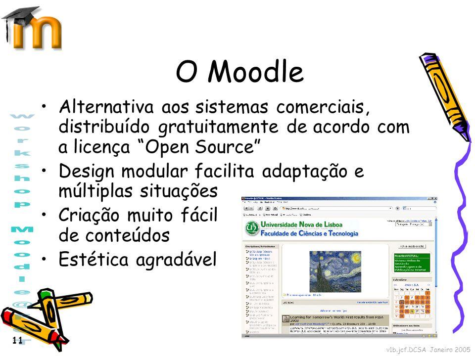 O Moodle Alternativa aos sistemas comerciais, distribuído gratuitamente de acordo com a licença Open Source