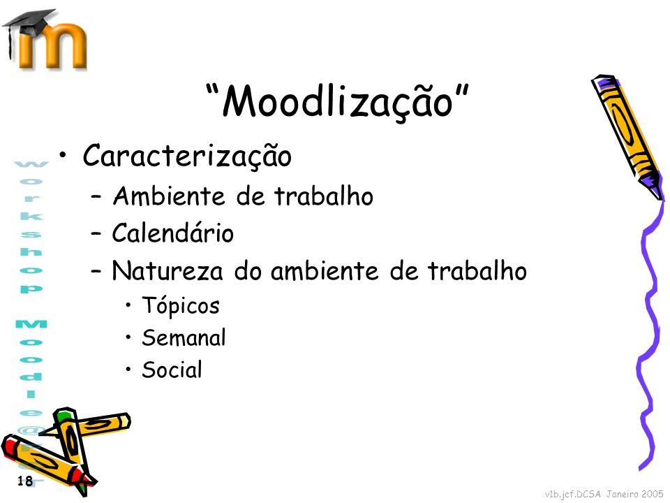 Moodlização Caracterização Ambiente de trabalho Calendário