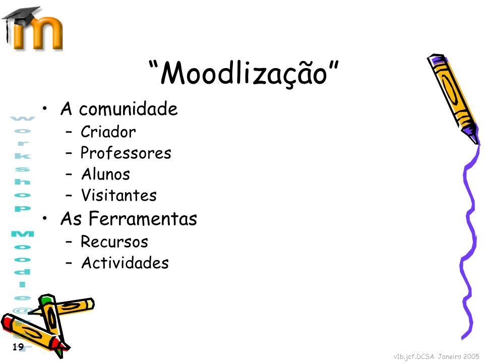 Moodlização A comunidade As Ferramentas Criador Professores Alunos