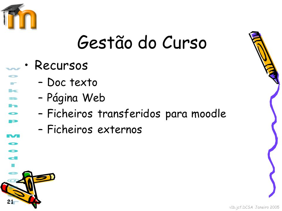 Gestão do Curso Recursos Doc texto Página Web