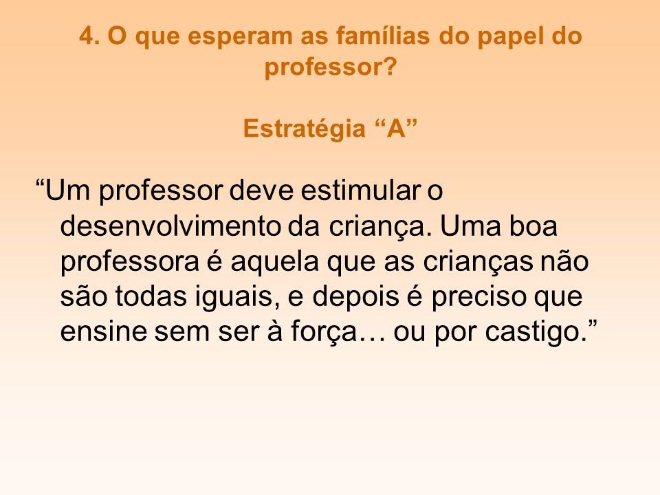 4. O que esperam as famílias do papel do professor Estratégia A