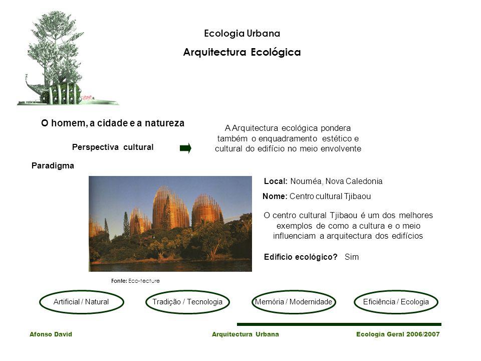 Arquitectura Ecológica O homem, a cidade e a natureza