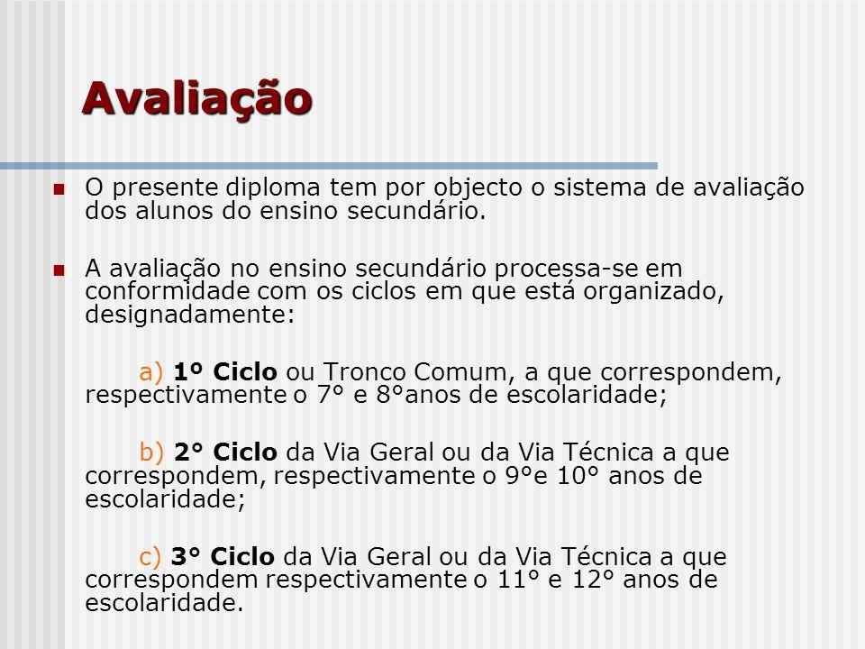 Avaliação O presente diploma tem por objecto o sistema de avaliação dos alunos do ensino secundário.