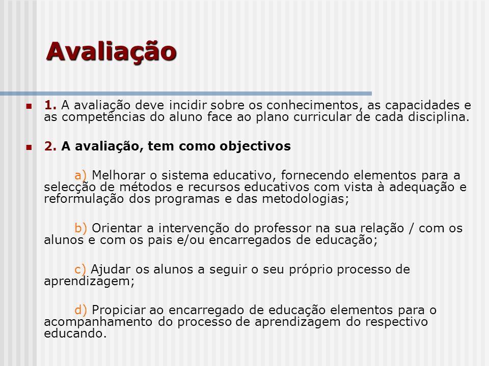 Avaliação1. A avaliação deve incidir sobre os conhecimentos, as capacidades e as competências do aluno face ao plano curricular de cada disciplina.