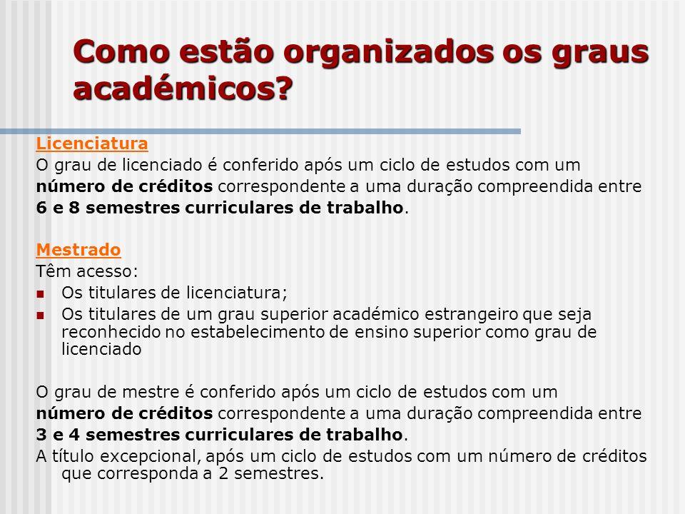 Como estão organizados os graus académicos