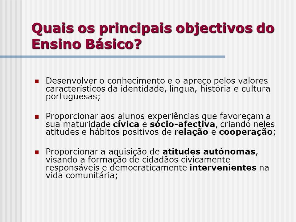 Quais os principais objectivos do Ensino Básico