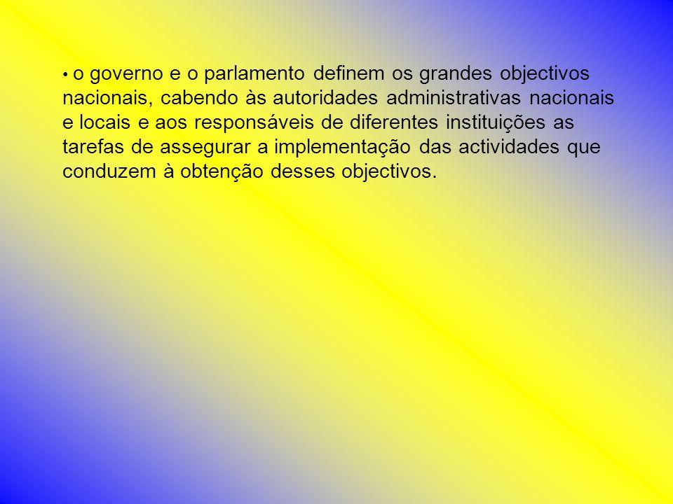 o governo e o parlamento definem os grandes objectivos nacionais, cabendo às autoridades administrativas nacionais e locais e aos responsáveis de diferentes instituições as tarefas de assegurar a implementação das actividades que conduzem à obtenção desses objectivos.
