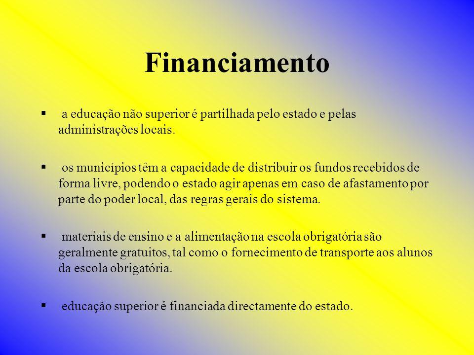 Financiamento a educação não superior é partilhada pelo estado e pelas administrações locais.