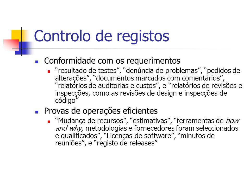 Controlo de registos Conformidade com os requerimentos