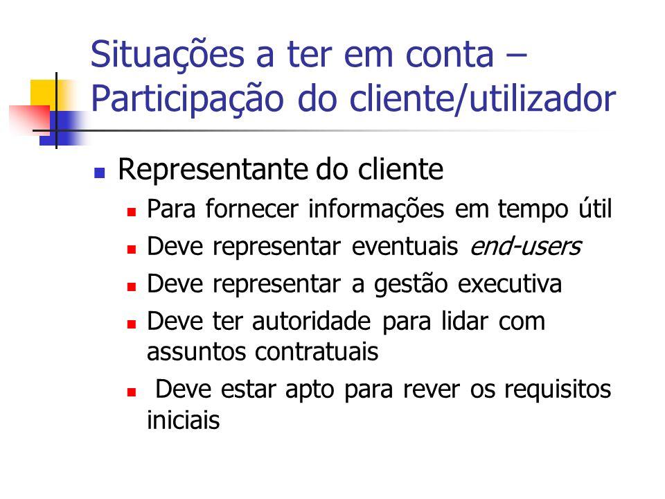 Situações a ter em conta – Participação do cliente/utilizador