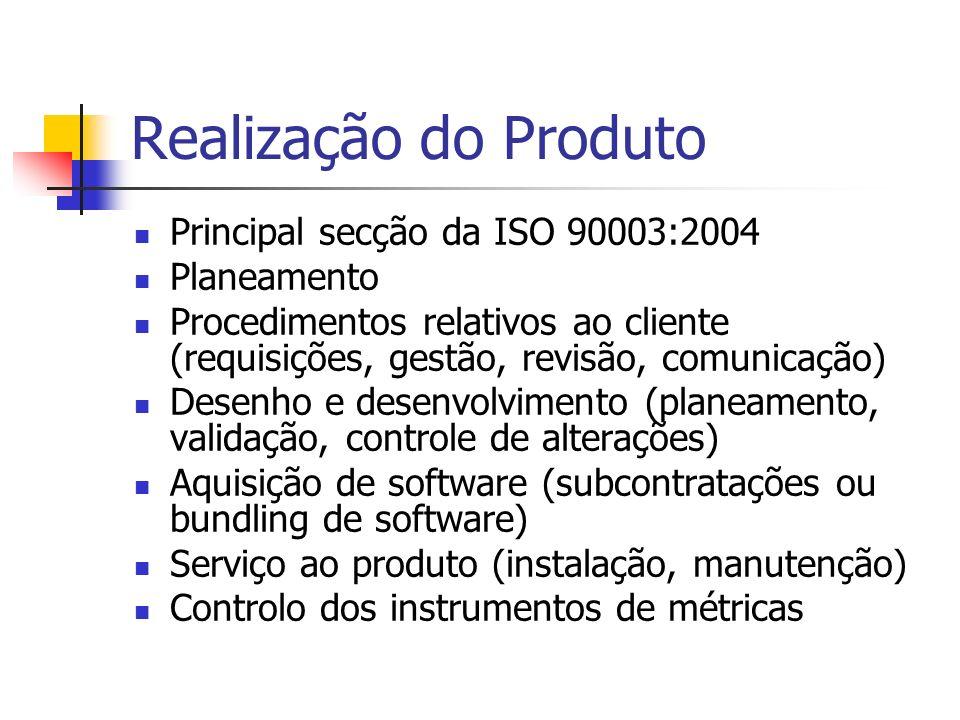 Realização do Produto Principal secção da ISO 90003:2004 Planeamento