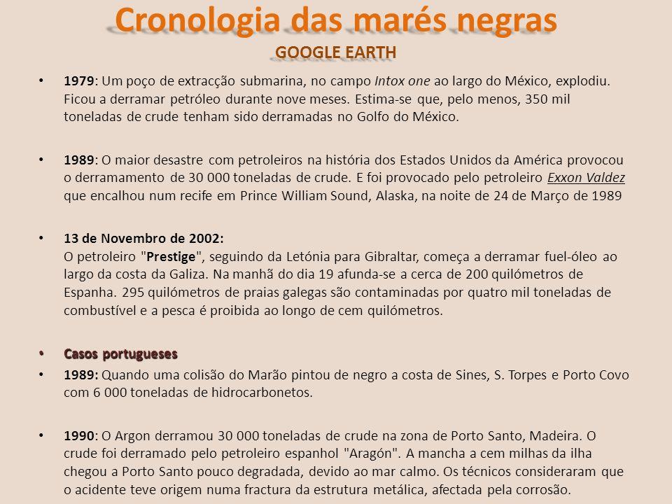Cronologia das marés negras GOOGLE EARTH