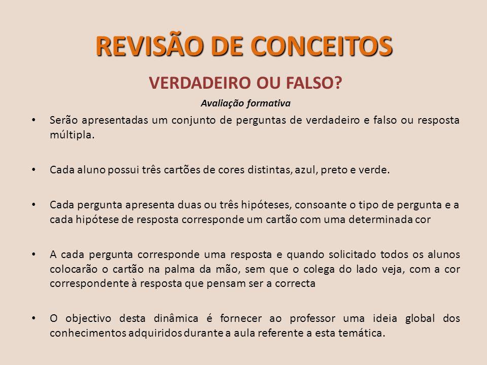 REVISÃO DE CONCEITOS VERDADEIRO OU FALSO