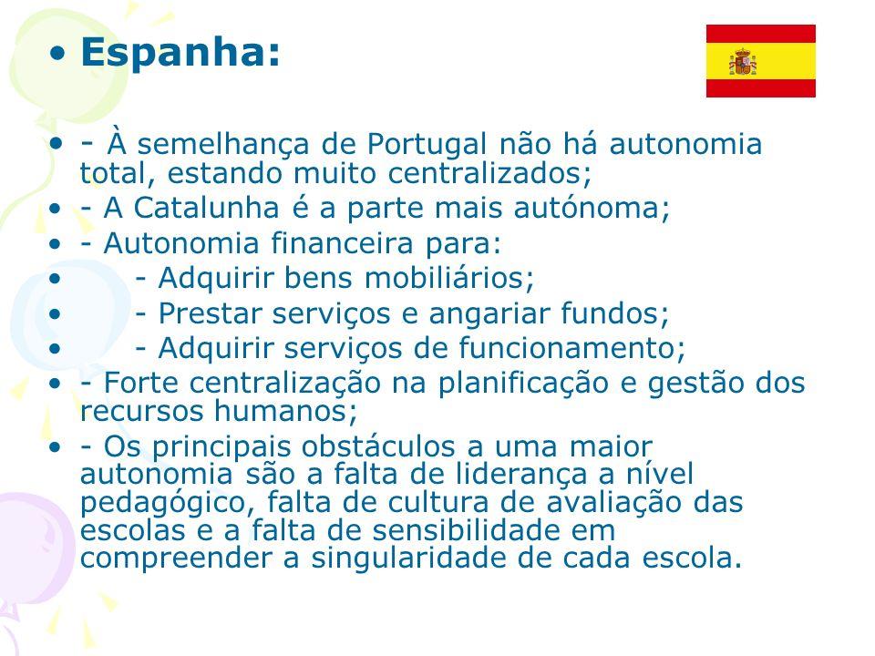 Espanha: - À semelhança de Portugal não há autonomia total, estando muito centralizados; - A Catalunha é a parte mais autónoma;