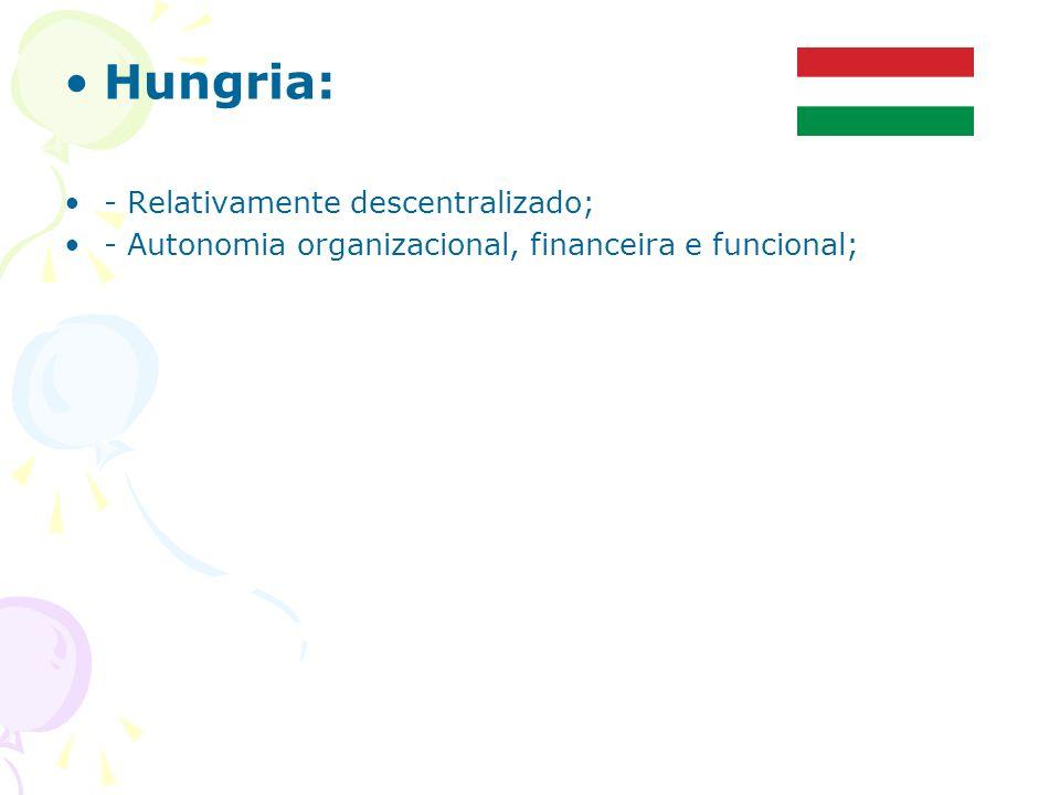 Hungria: - Relativamente descentralizado;