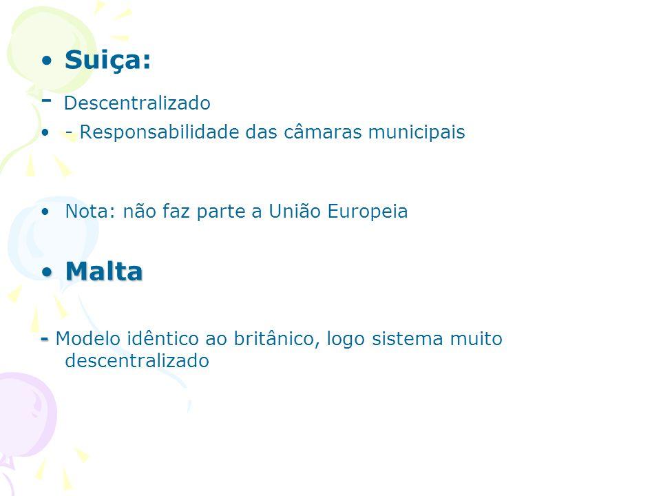 - Descentralizado Suiça: Malta